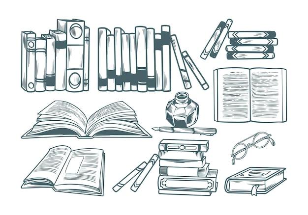 Livre bibliothèque vintage dessinée à la main avec jeu de dessins de gravure