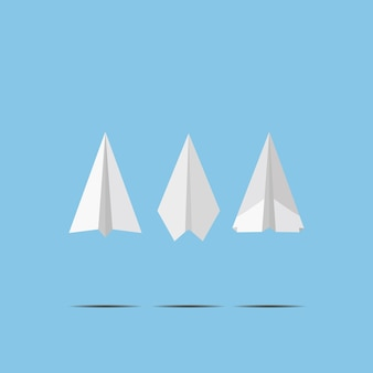 Livre blanc avions volant sur le mur de ciel bleu. style origami de conception artisanale, illustration vectorielle tout simplement