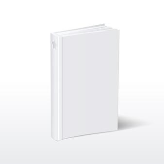 Livre blanc à couverture souple vertical blanc debout sur la vue en perspective de la table