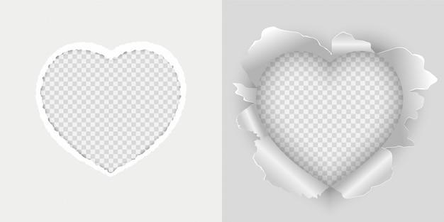 Livre blanc de vecteur déchiré en forme de coeur. ensemble d'illustration vectorielle de papier déchiré coeur.