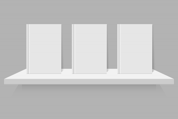 Livre blanc vide sur l'étagère