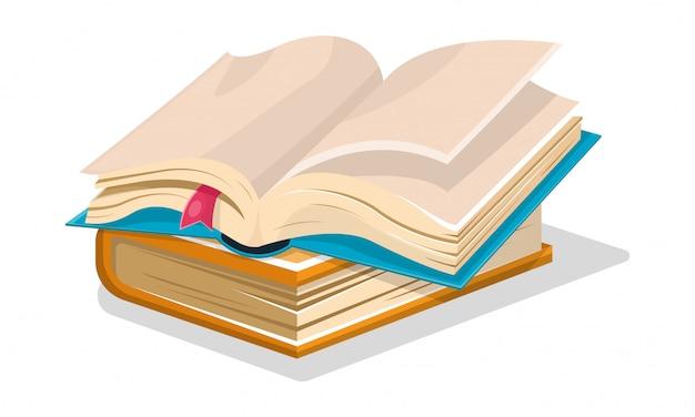 Livre bleu ouvert avec des feuilles vides et un signet rose sur un autre bleu fermé.