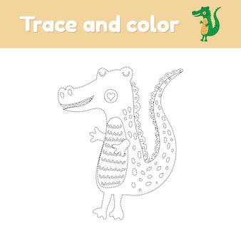 Livre de coloriage avec un animal sauvage mignon un alligator. pour les enfants d'âge préscolaire et scolaire. feuille de calcul trace. développement de la motricité fine et de l'écriture manuscrite. illustration vectorielle.