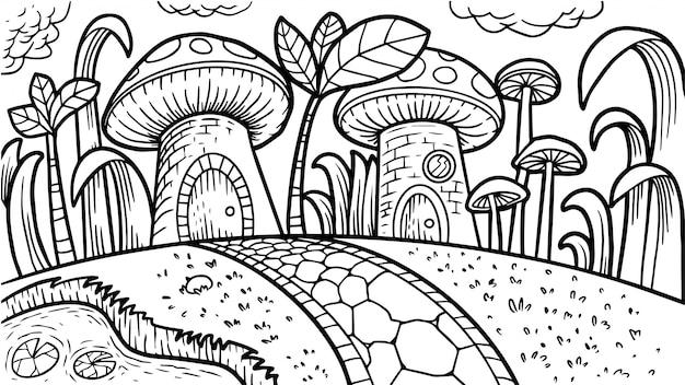 Livre de coloriage aux champignons