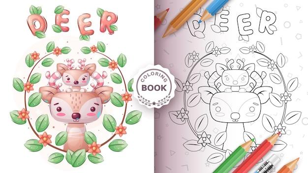 Livre de coloriage de cerf animal de personnage de dessin animé
