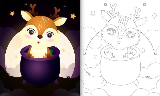 Livre de coloriage avec un cerf mignon dans le chaudron de sorcière