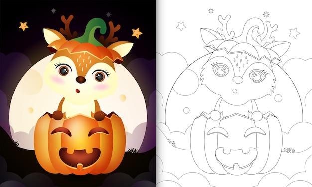 Livre de coloriage avec un cerf mignon dans la citrouille d'halloween
