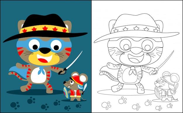 Livre de coloriage avec chat contre rat