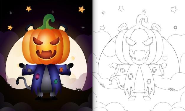 Livre de coloriage avec un chat noir mignon utilisant l'épouvantail de costume et la citrouille halloween