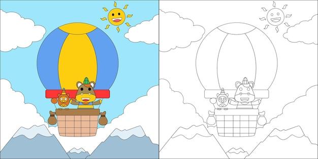 Livre de coloriage ou cheval de dessin animé de page et hibou volant dans le ciel avec la montgolfière