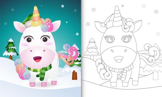 Livre de coloriage avec une collection de personnages de noël de cerf de licorne avec un chapeau et une écharpe