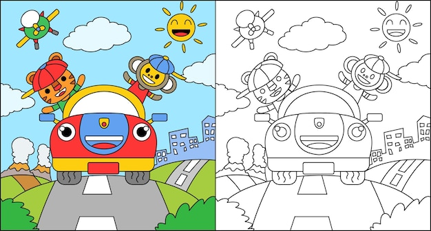 Livre de coloriage ou coloriage dessin animé tigre et singe conduisant une voiture