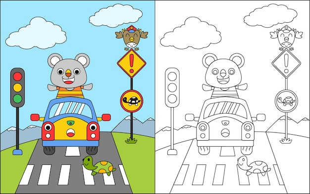 Livre de coloriage ou coloriage ours de bande dessinée et arrêt de voiture à la croix zébrée