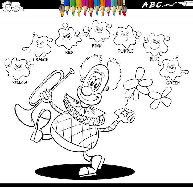 Livre de coloriage couleurs de base avec joyeux clown