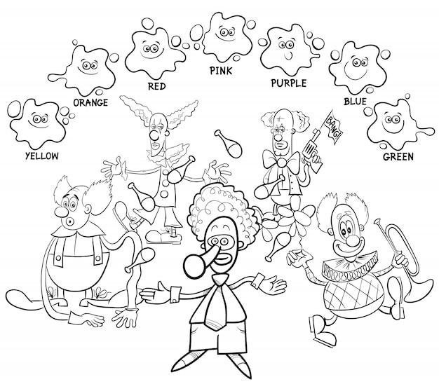 Livre de coloriage de couleurs principales avec des clowns