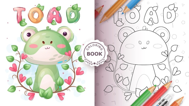 Livre de coloriage de crapaud animal enfantin de personnage de dessin animé