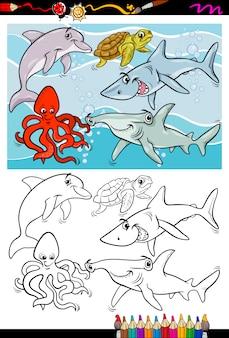 Livre de coloriage dessin animé animaux de mer