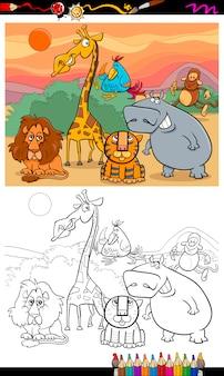 Livre de coloriage de dessin animé animaux sauvages
