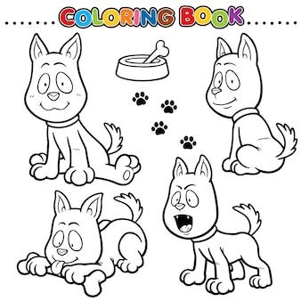 Livre de coloriage de dessin animé - chien