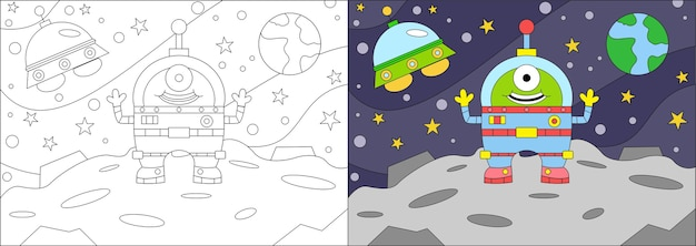 Livre de coloriage dessin animé extraterrestre