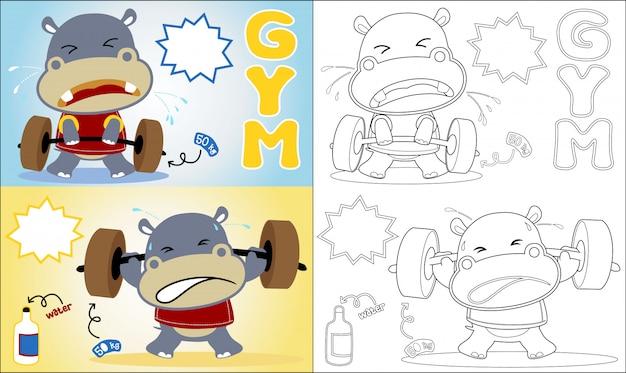 Livre de coloriage avec dessin animé hippo le lifter drôle