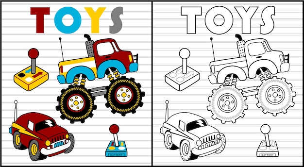 Livre de coloriage de dessin animé de jouets d'enfants ou page