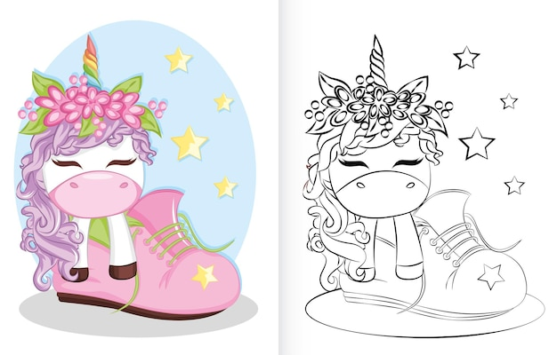 Livre de coloriage avec dessin animé licorne et arc-en-ciel dans les chaussures. livre de coloriage pour les enfants d'âge préscolaire.