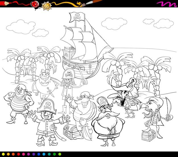 Livre de coloriage de dessin animé de pirates