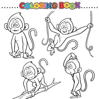 Livre de coloriage de dessin animé - singe