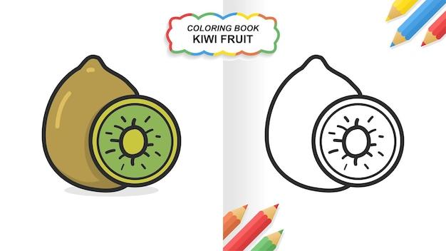 Livre de coloriage dessiné à la main de kiwi pour l'apprentissage. aplat prêt à imprimer