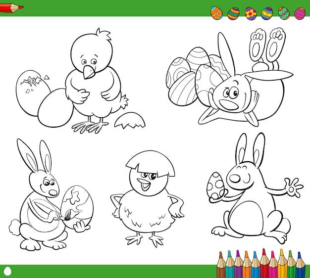 Livre de coloriage de dessins animés de pâques