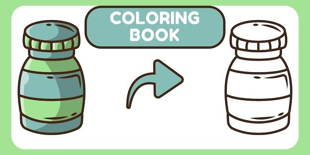 Livre de coloriage doodle cartoon dessiné à la main médecine mignon pour les enfants