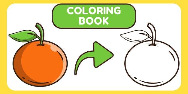 Livre de coloriage doodle dessin animé mignon dessinés à la main orange pour les enfants