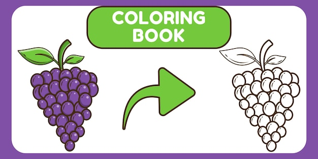 Livre de coloriage doodle dessin animé mignon raisin dessinés à la main pour les enfants