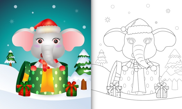 Livre de coloriage avec un éléphant mignon personnages de noël à l'aide de bonnet de noel et écharpe dans la boîte cadeau