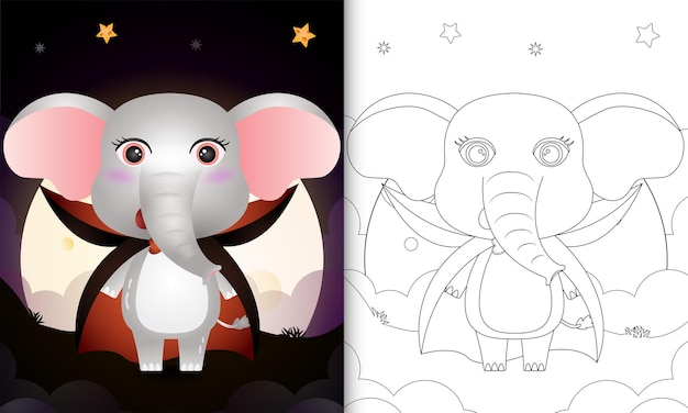 Livre de coloriage avec un éléphant mignon utilisant le costume dracula halloween