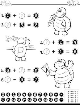 Livre de coloriage de feuille de calcul mathématique