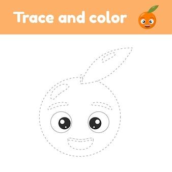 Livre de coloriage avec la feuille de travail de trace d'orange de fruit mignon