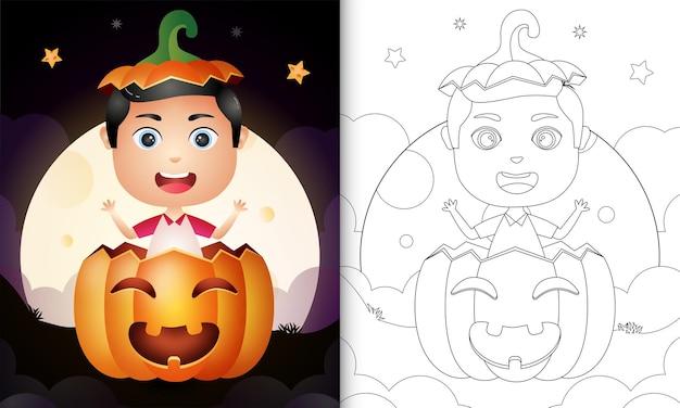 Livre de coloriage avec un garçon mignon dans la citrouille d'halloween