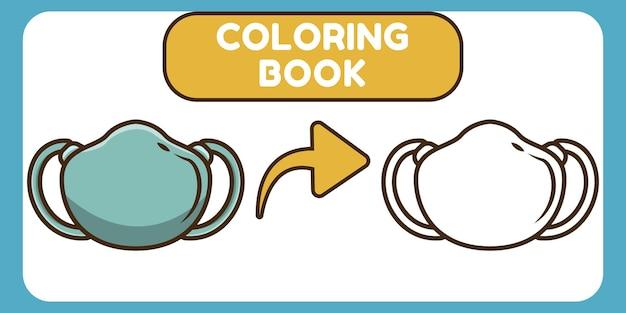 Livre de coloriage de griffonnage de dessin animé dessiné à la main de masque facial mignon pour des enfants