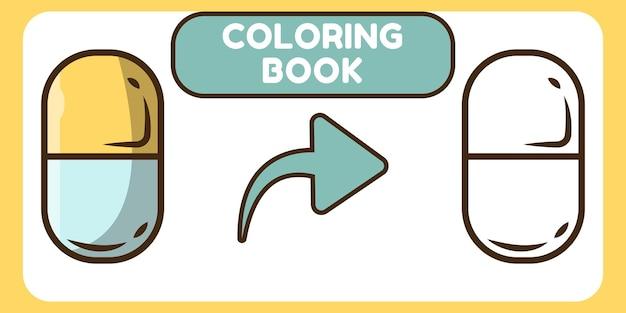 Livre de coloriage de griffonnage de dessin animé dessiné à la main de pilules mignonnes pour les enfants