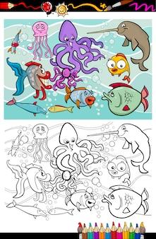 Livre de coloriage groupe animaux de la vie de la mer