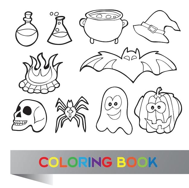 Livre de coloriage halloween - illustration vectorielle avec des personnages fanny