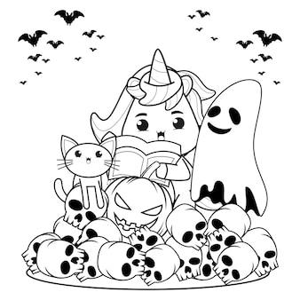 Livre de coloriage halloween mignonne petite fille sorcière28