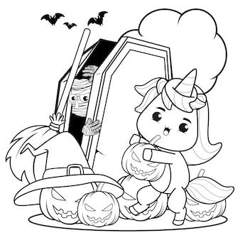 Livre de coloriage halloween mignonne petite fille witch4