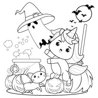 Livre de coloriage halloween mignonne petite fille witch9