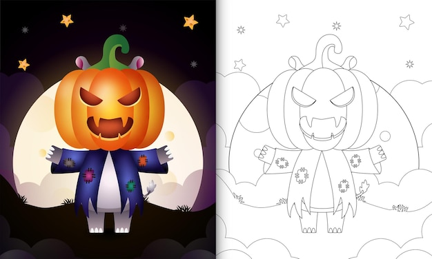Livre de coloriage avec un hippopotame mignon utilisant un épouvantail en costume et une citrouille halloween