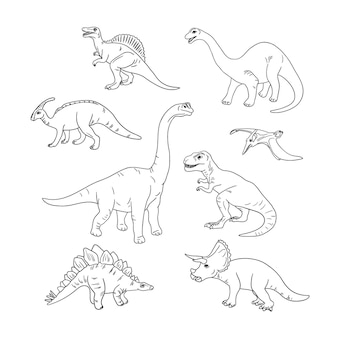 Livre de coloriage avec illustration de dinosaures croquis dessinés à la main