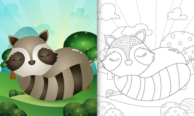 Livre de coloriage avec une illustration de personnage de raton laveur mignon