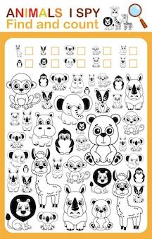 Livre de coloriage j'espionne le compte et colorie la feuille de travail imprimable des animaux de zoo pour la maternelle et l'école maternelle